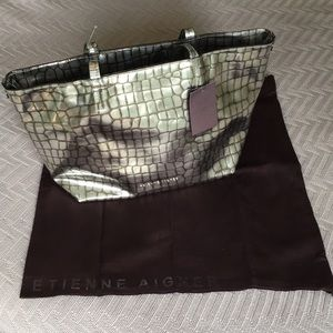 NWT Etienne Aigner silver reptile print large tote